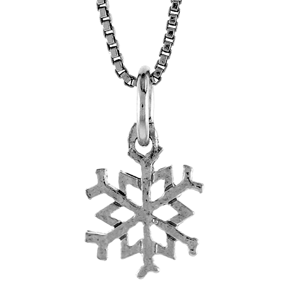 Sterling Silver Snowflake Pendant, 1/2 inch