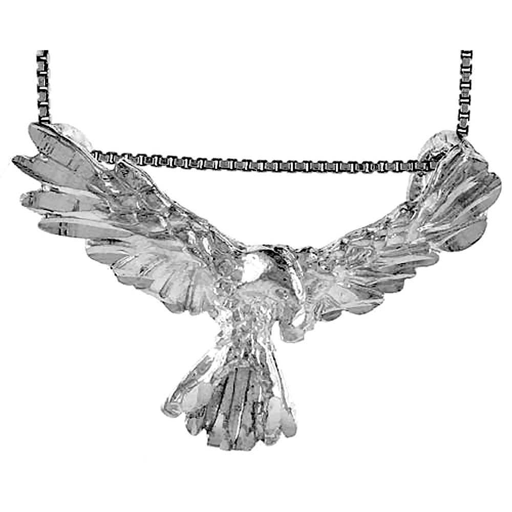 Sterling Silver Eagle Pendant, 1 1/2 inch wide