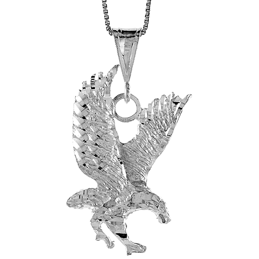Sterling Silver Eagle Pendant, 1 1/4 inch
