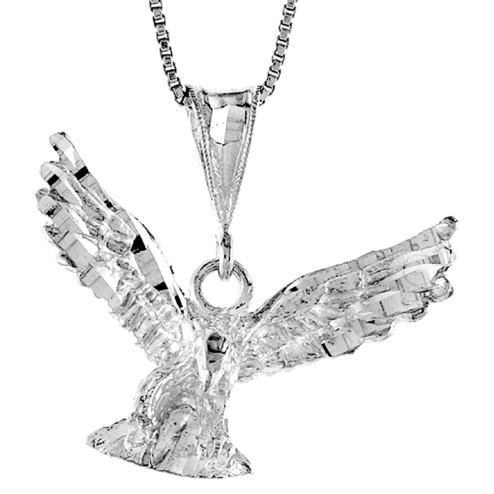 Sterling Silver Eagle Pendant, 5/8 inch