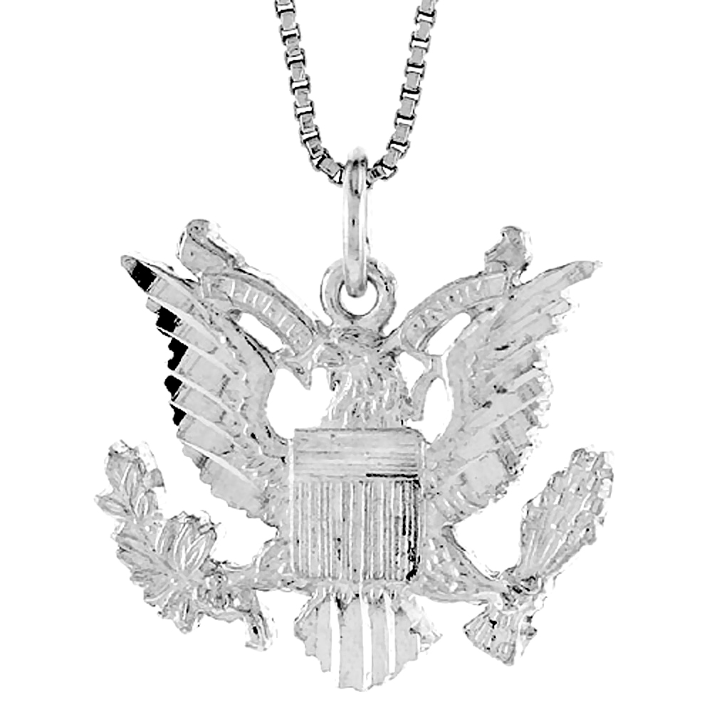 Sterling Silver American Eagle Pendant, 3/4 x 1 inch