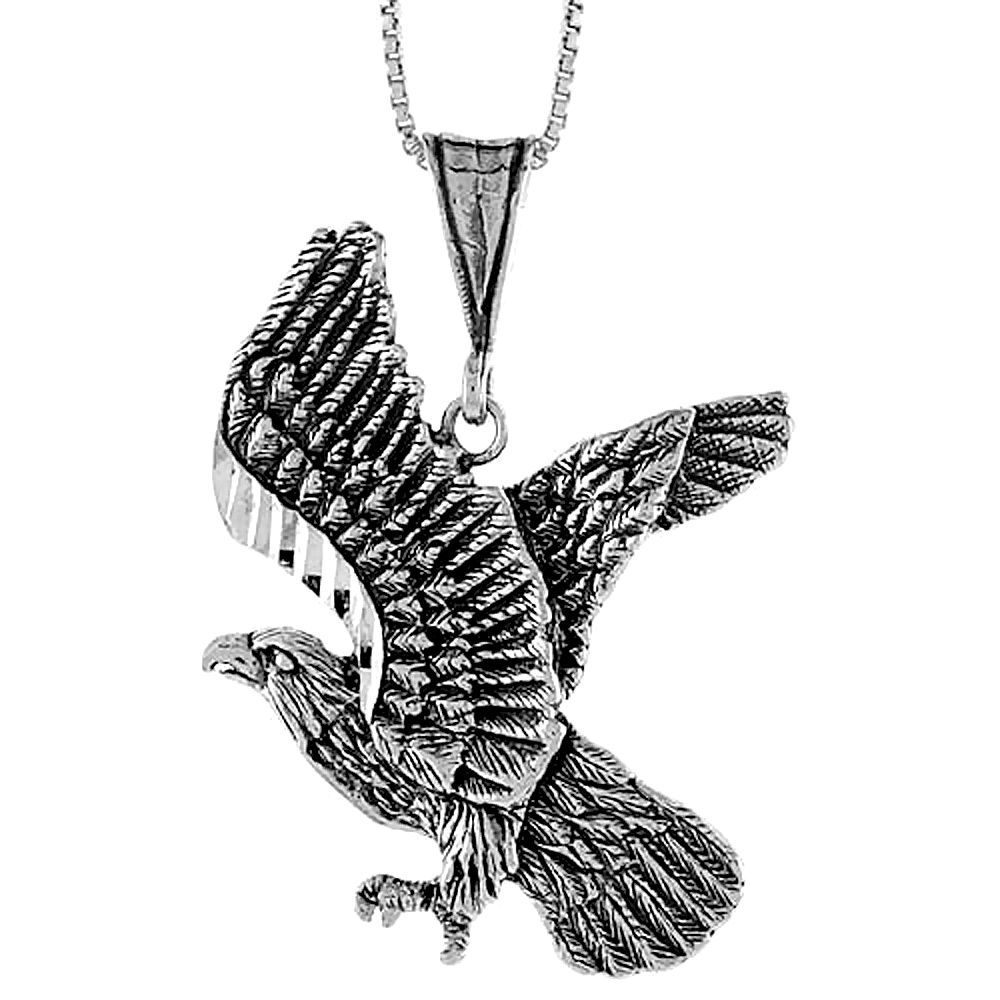 Sterling Silver Eagle Pendant, 1 1/2 inch