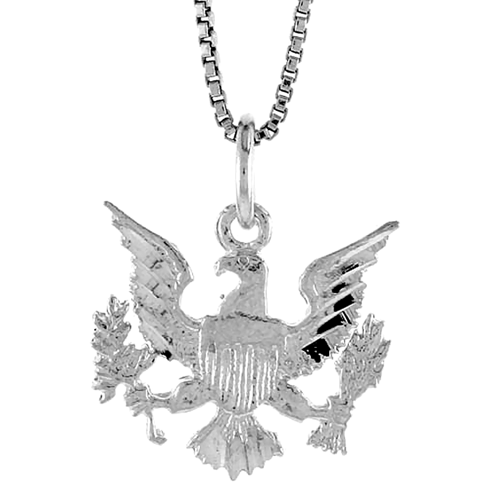 Sterling Silver Presidential Eagle Pendant, 5/8 inch