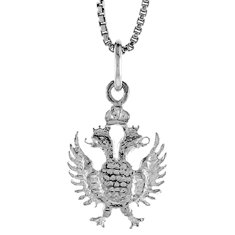 Sterling Silver 2-Headed Eagle Pendant, 3/4 inch