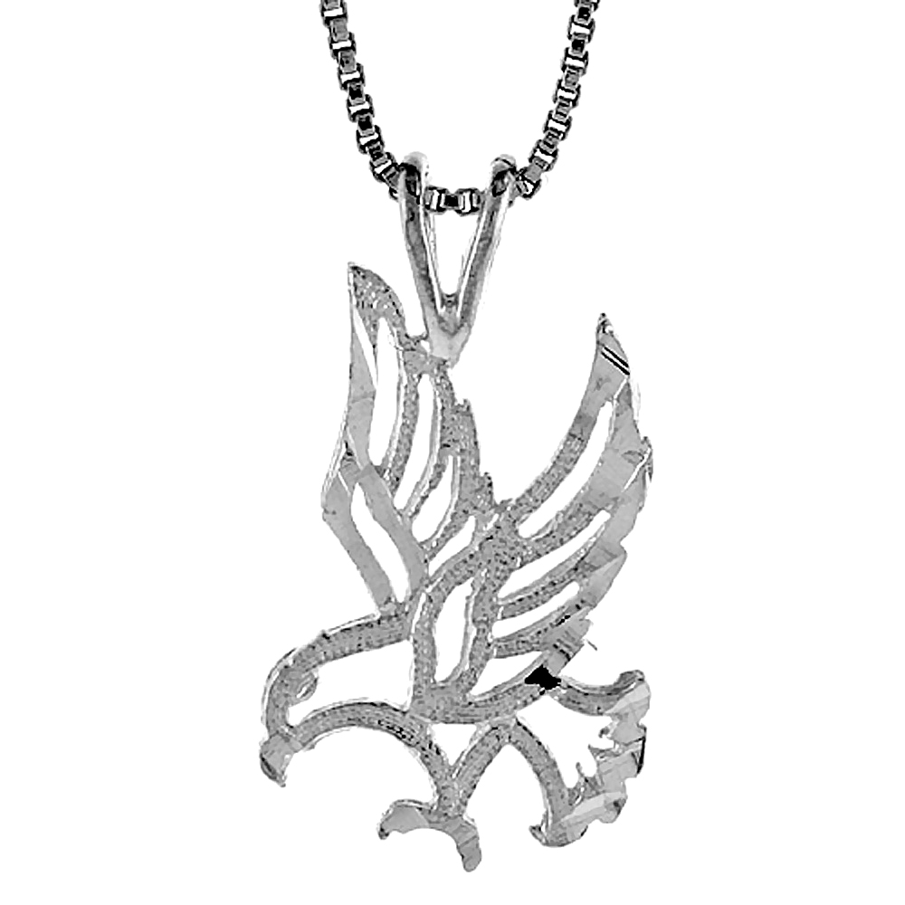 Sterling Silver Eagle Pendant, 3/4 inch