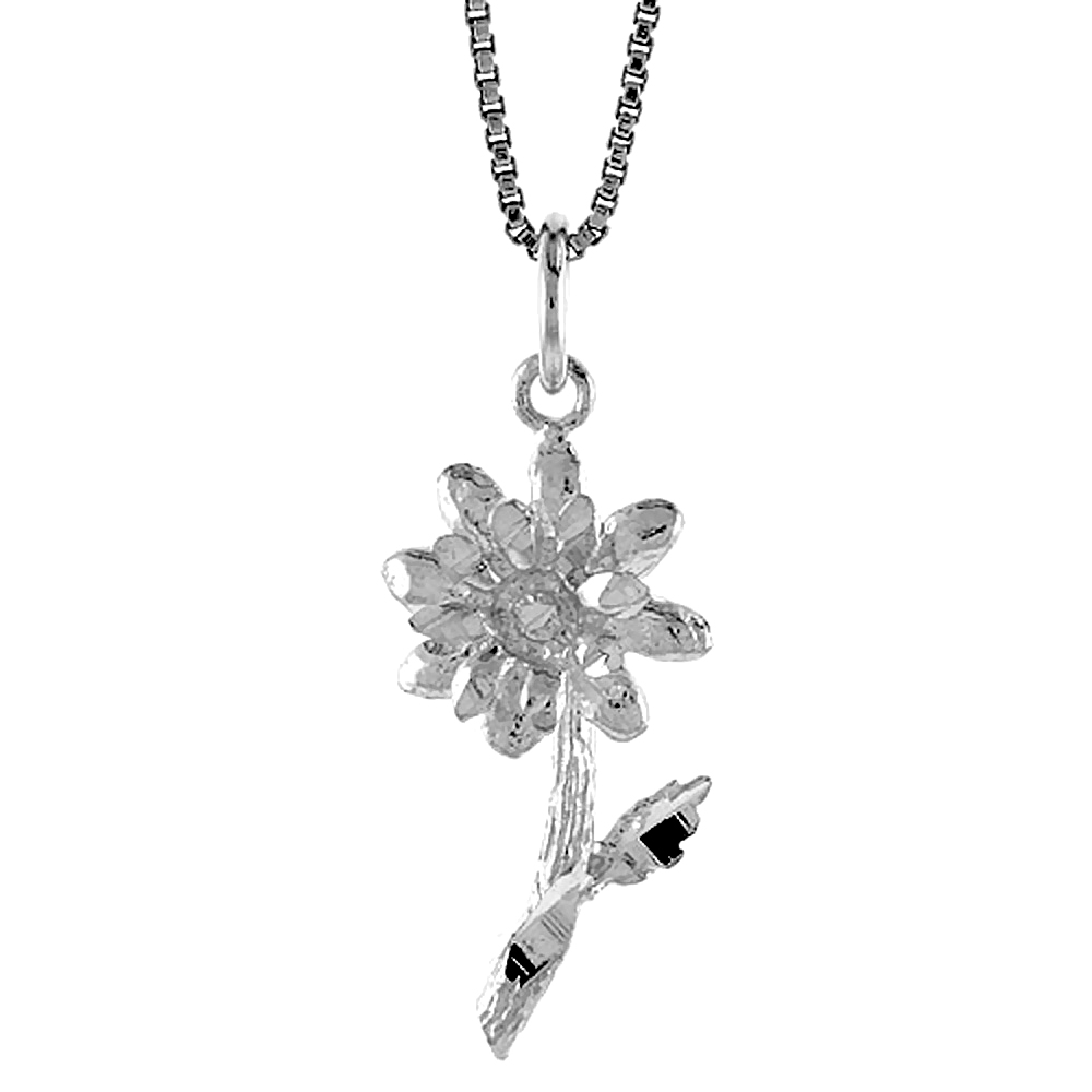 Sterling Silver Flower Pendant, 7/8 inch Tall