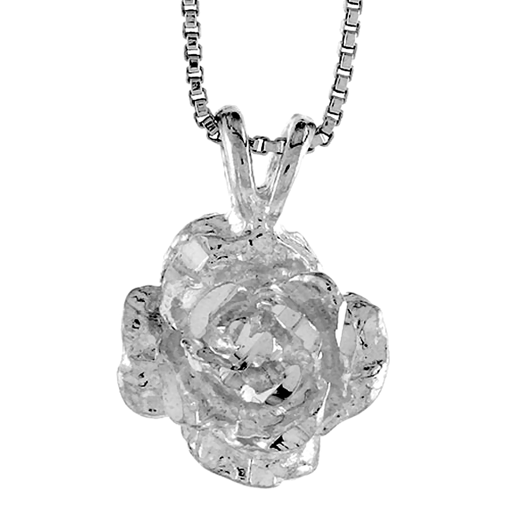 Sterling Silver Rose Pendant, 1/2 inch Tall