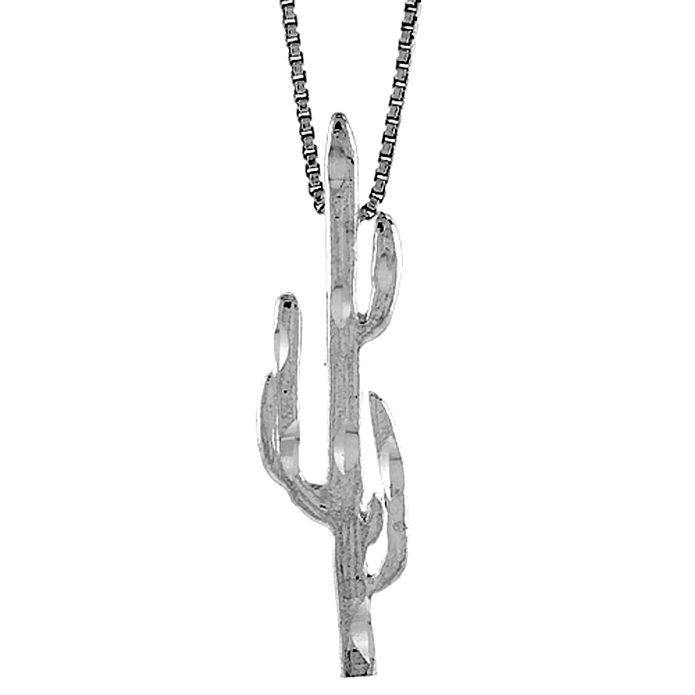Sterling Silver Cactus Pendant, 1 1/2 inch Tall