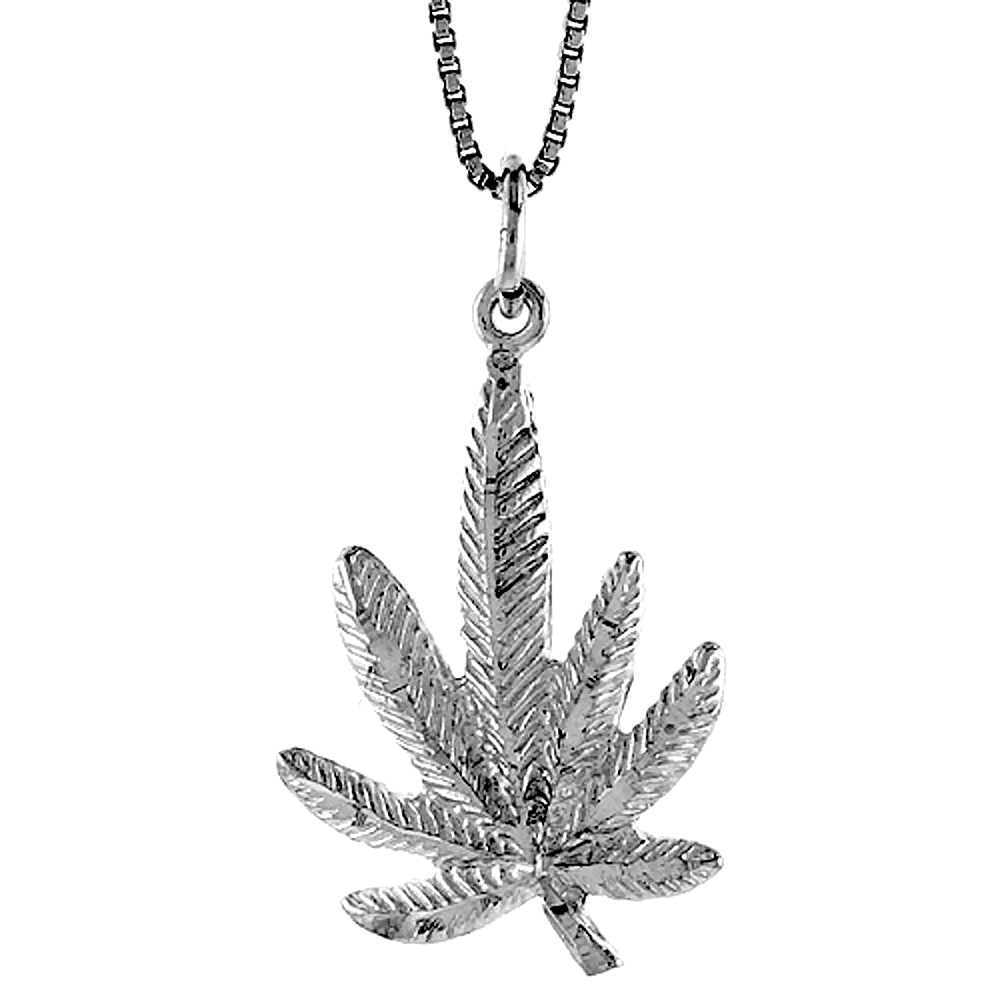 Sterling Silver Pot Leaf Pendant, 1 inch Tall