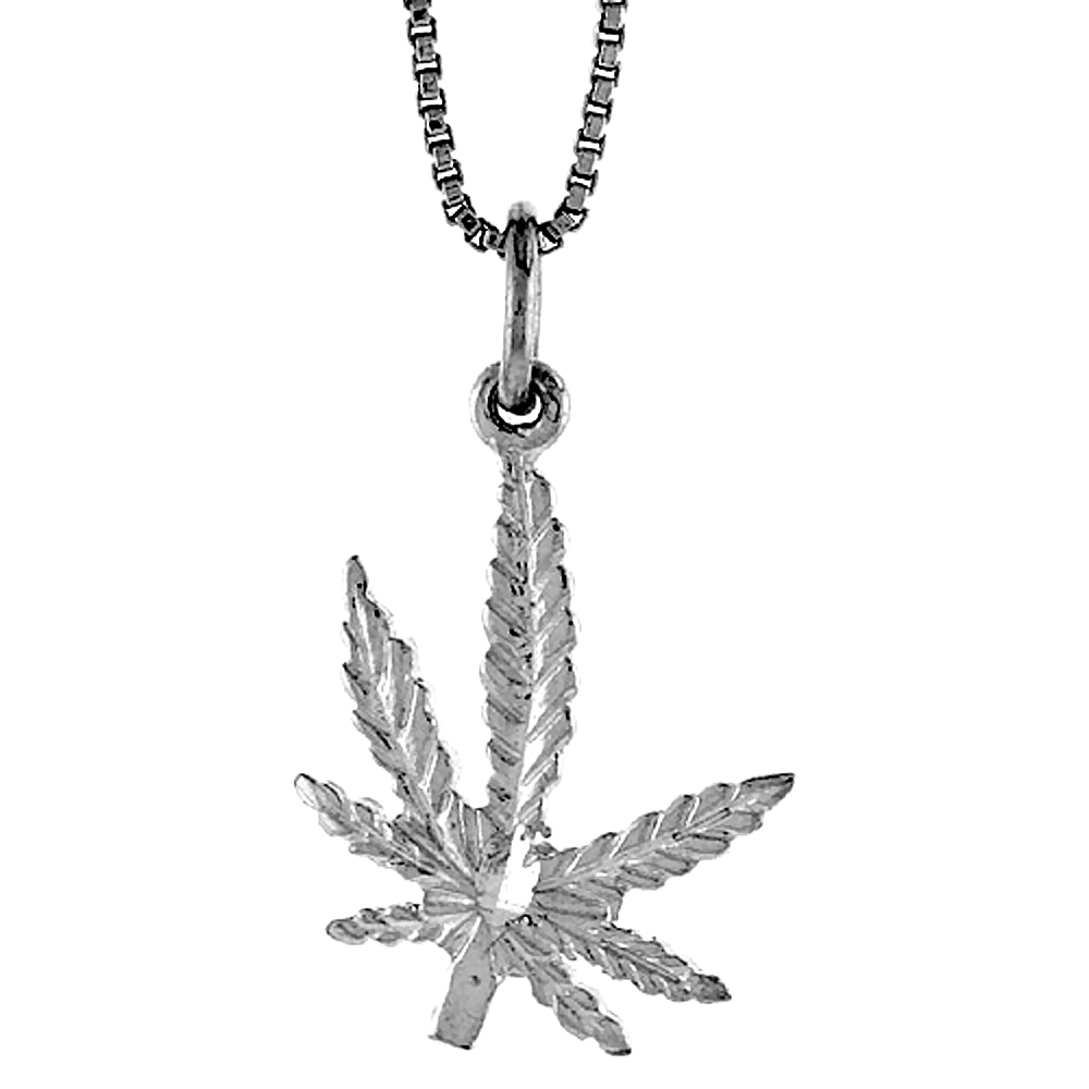 Sterling Silver Pot Leaf Pendant, 3/4 inch Tall