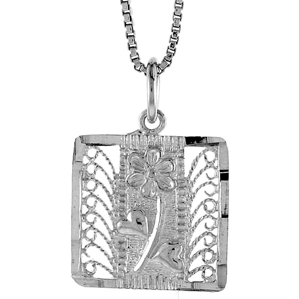 Sterling Silver Square Filigree Pendant, 5/8 inch Tall