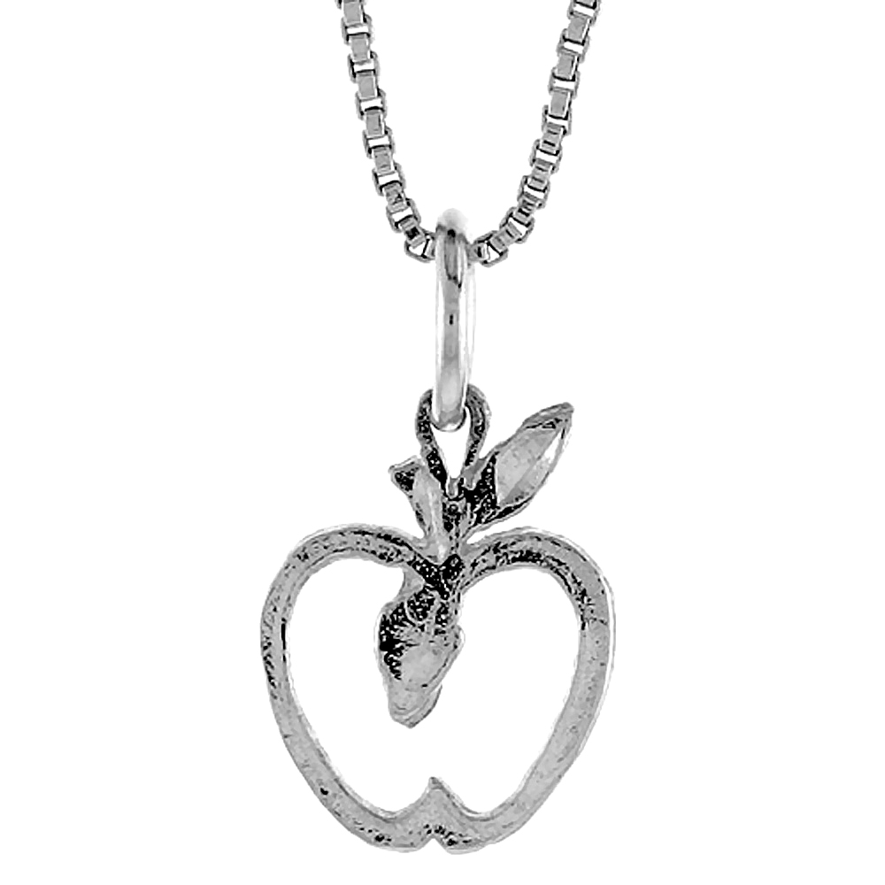 Sterling Silver Apple Pendant, 1/2 inch Tall