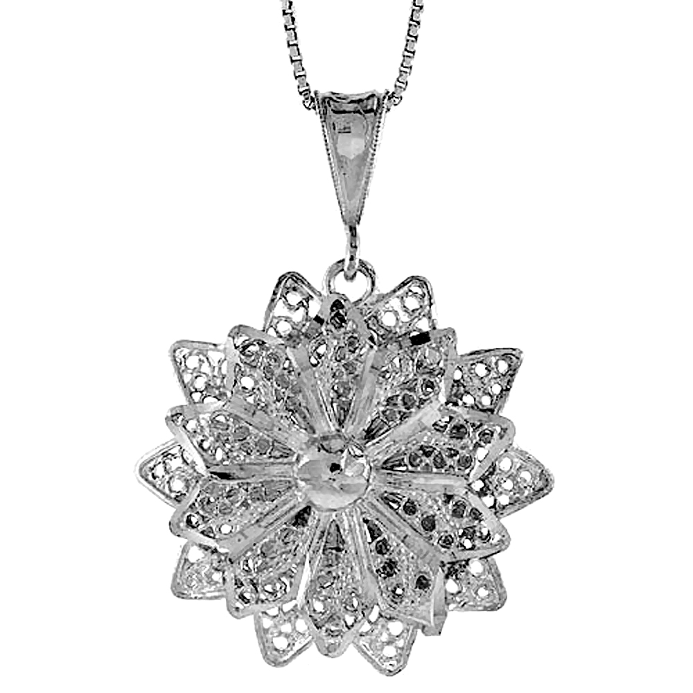 Sterling Silver Large Floral Filigree Pendant, 1 1/4 inch Tall