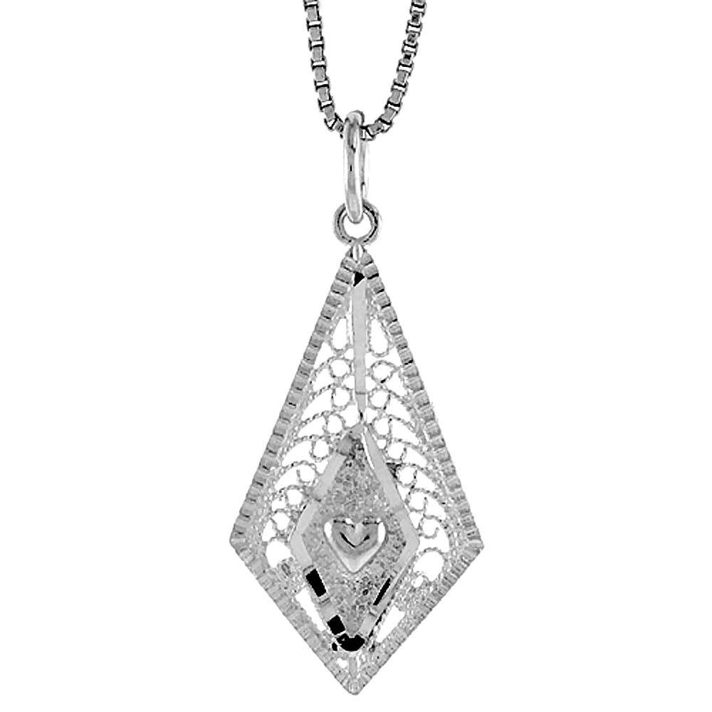 Sterling Silver Diamond Shaped Filigree Pendant, 1 inch tall