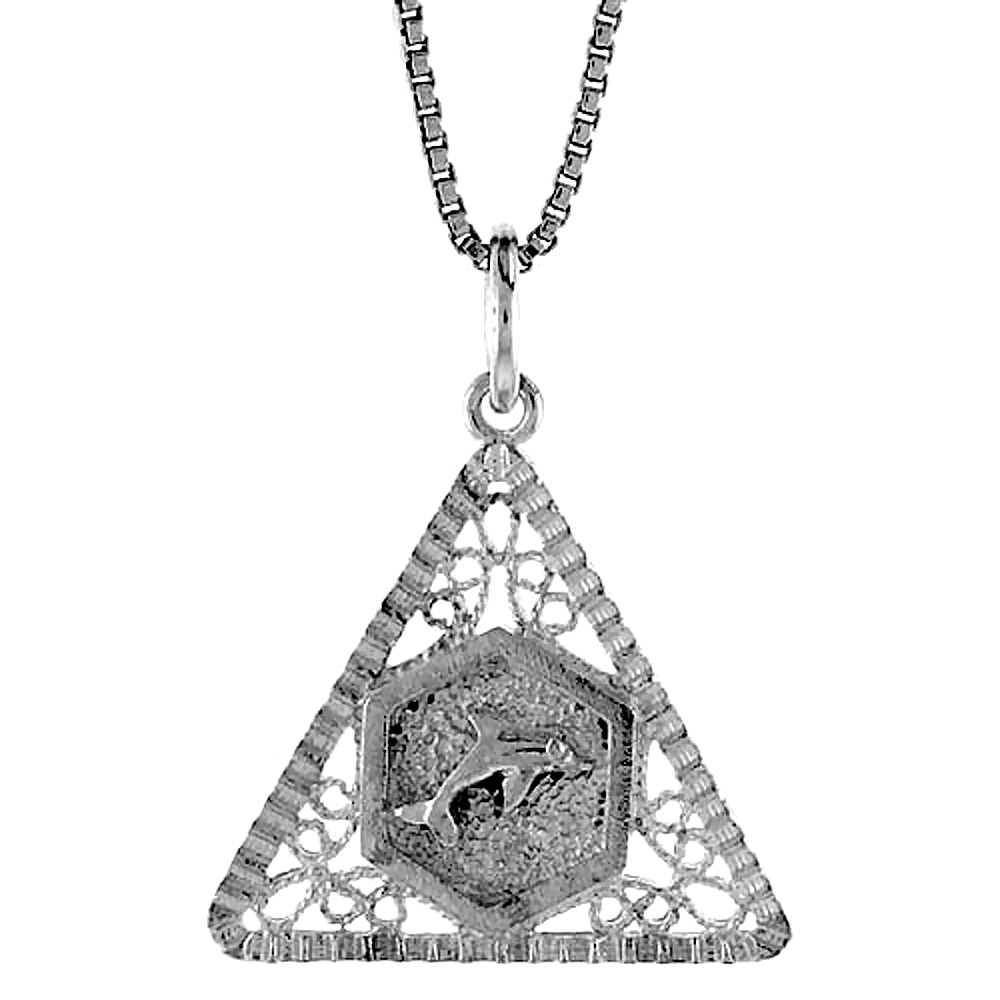 Sterling Silver Triangular Filigree Pendant, 3/4 inch Tall