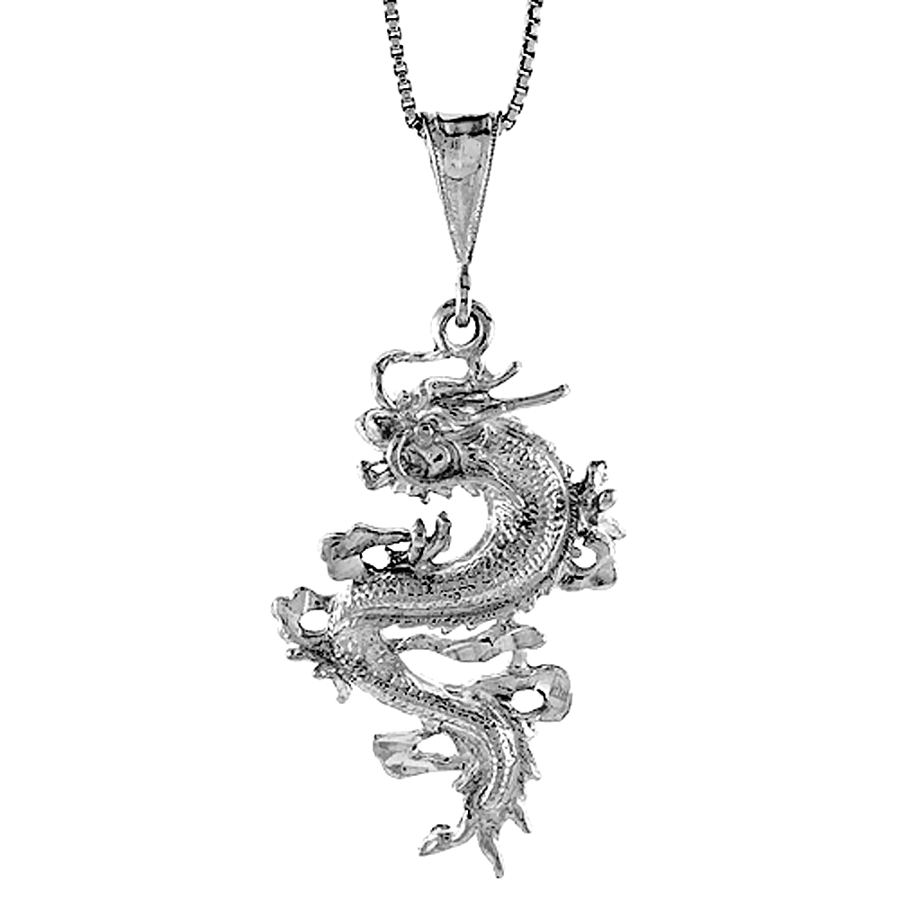 Sterling Silver Chinese Dragon Pendant, 1 1/2 inch Tall