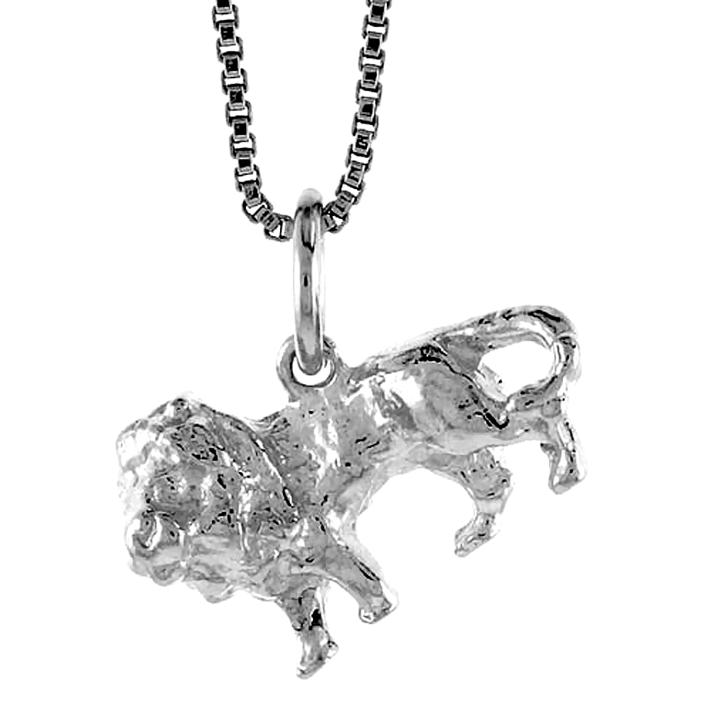 Sterling Silver Lion Pendant, 1/2 inch Tall