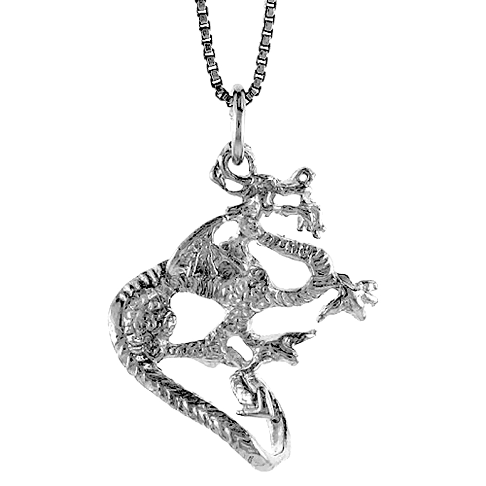 Sterling Silver Dragon Pendant, 1 inch Tall