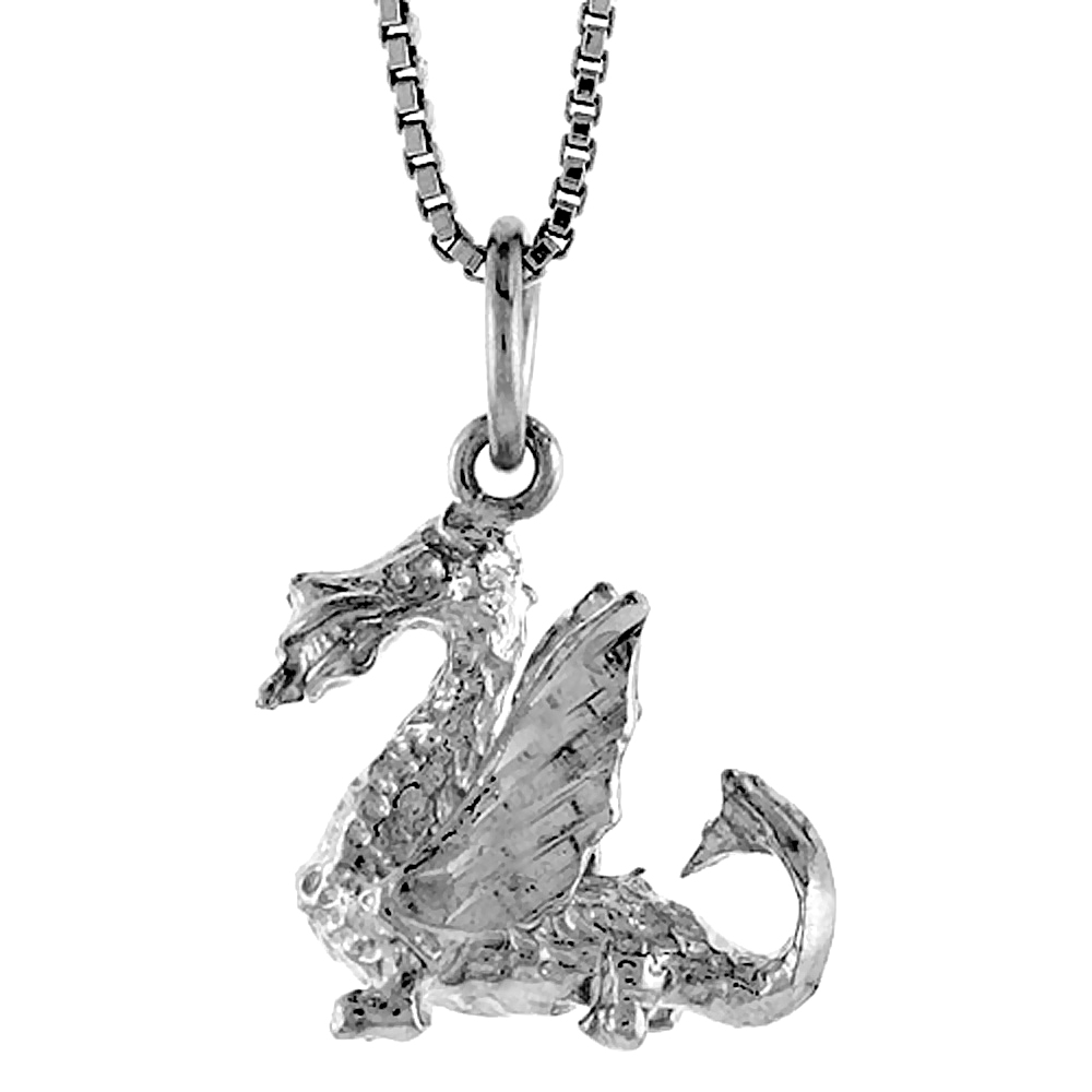 Sterling Silver Dragon Pendant, 5/8 inch Tall