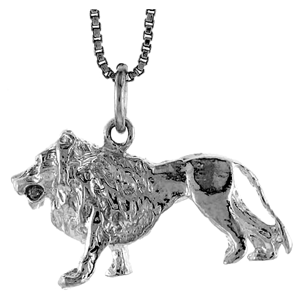 Sterling Silver Lion (D) Pendant, 5/8 inch Tall