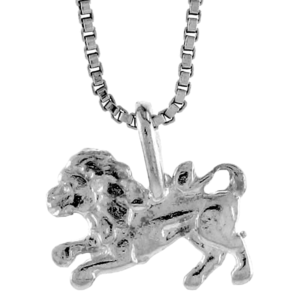 Sterling Silver Teeny Lion Pendant, 5/16 inch tall