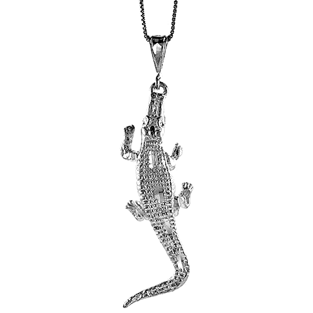 Sterling Silver Large Crocodile Pendant, 2 1/2 inch Tall