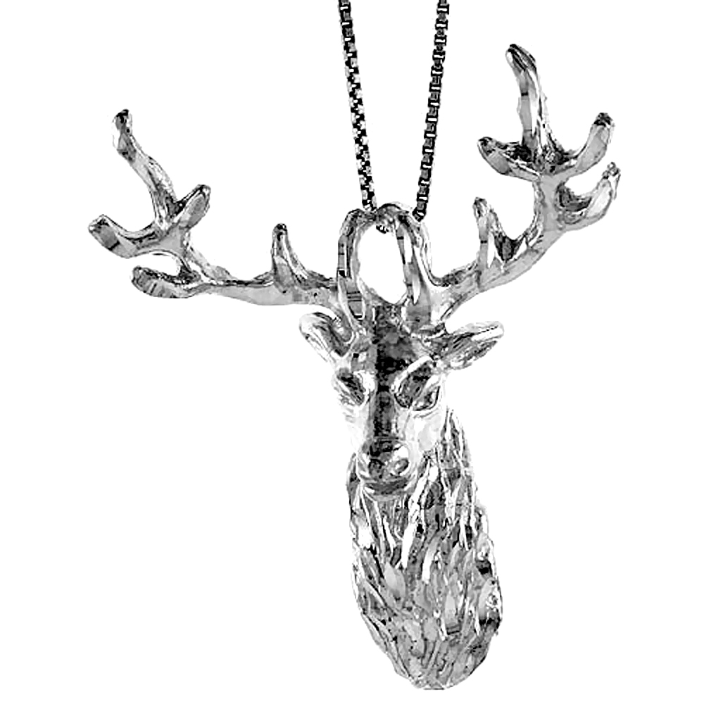 Sterling Silver Large Deer Head Pendant, 2 3/16 inch Tall