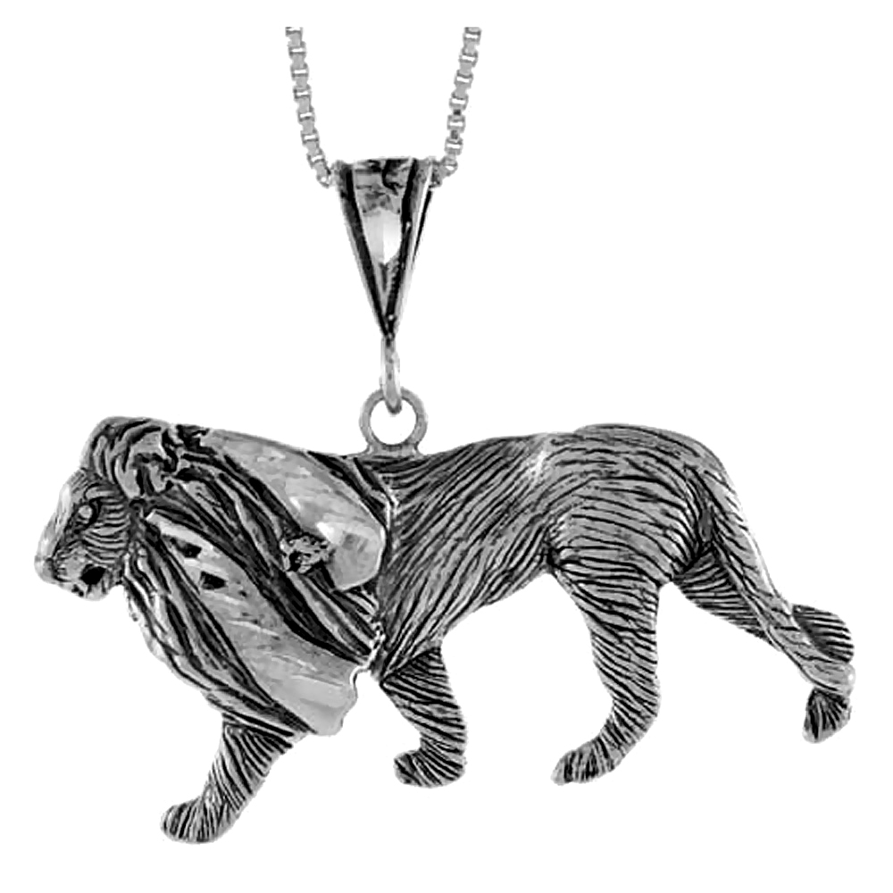 Sterling Silver Lion Pendant, 1 3/4 X 3/4 inch