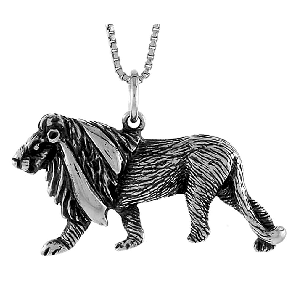 Sterling Silver Lion Pendant, 1 1/4 inch Tall