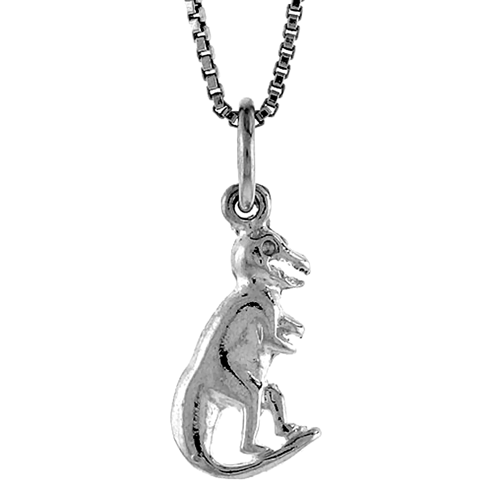 Sterling Silver Small T Rex Dinosaur Pendant, , 5/8 inch Tall