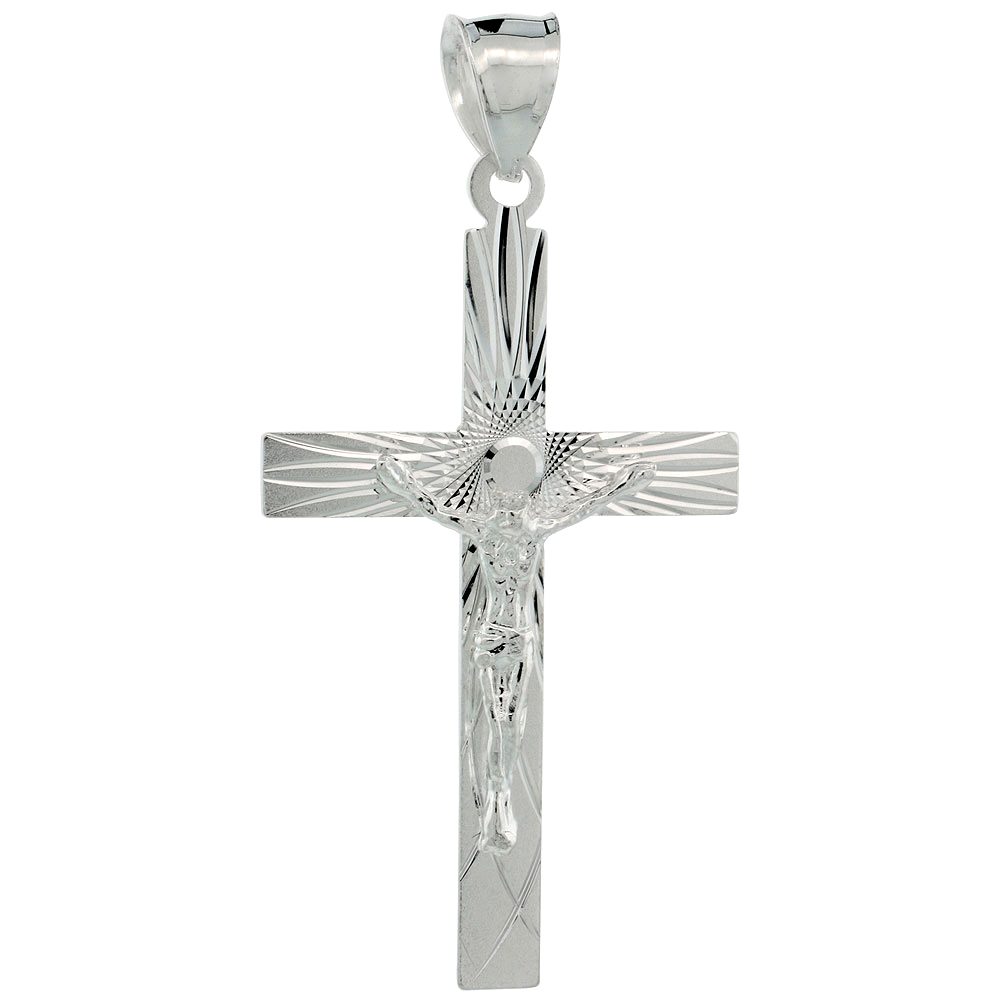 Sterling Silver Crucifix Pendant w/ Latin Cross, 1 5/8 inch tall