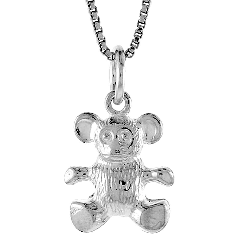 Sterling Silver Teddy Bear Pendant, 1/2 inch