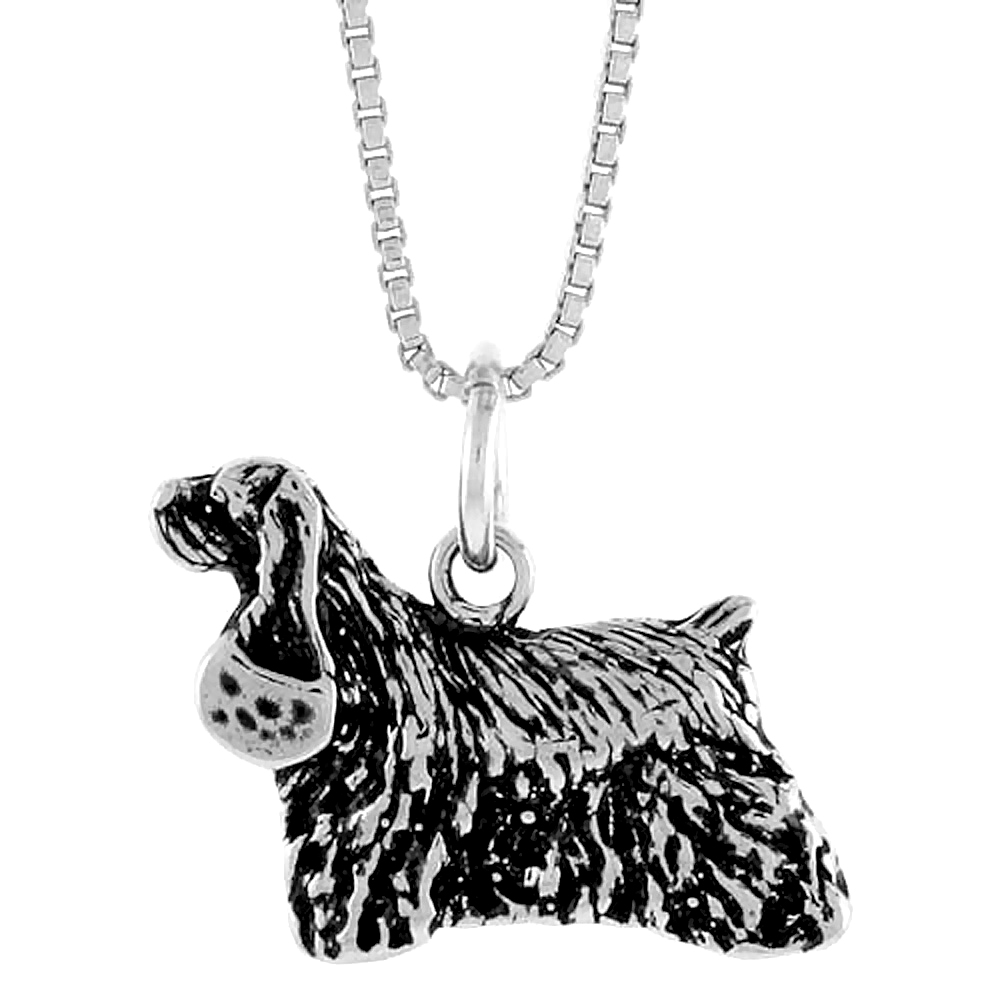 Sterling Silver English Cocker Spaniel Pendant, 1/2 inch Tall