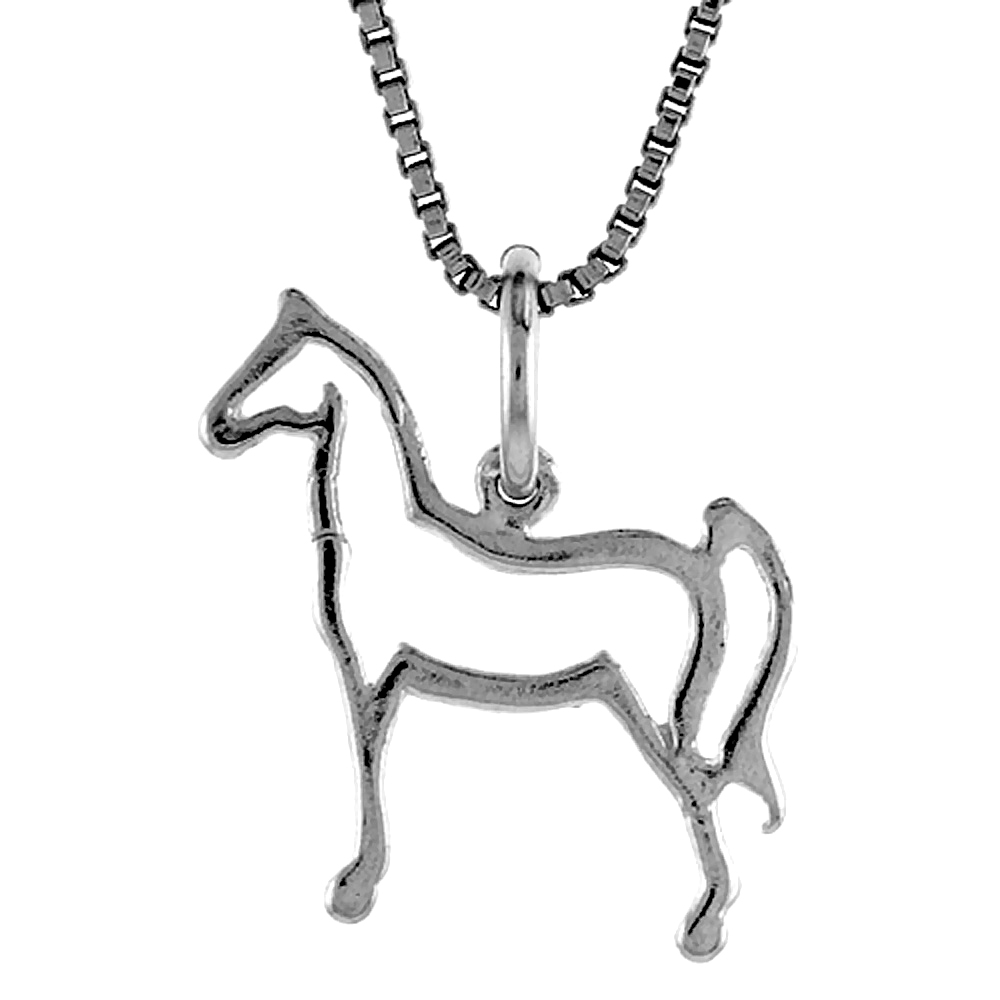 Sterling Silver Cut-out Horse Pendant, 3/4 inch Tall
