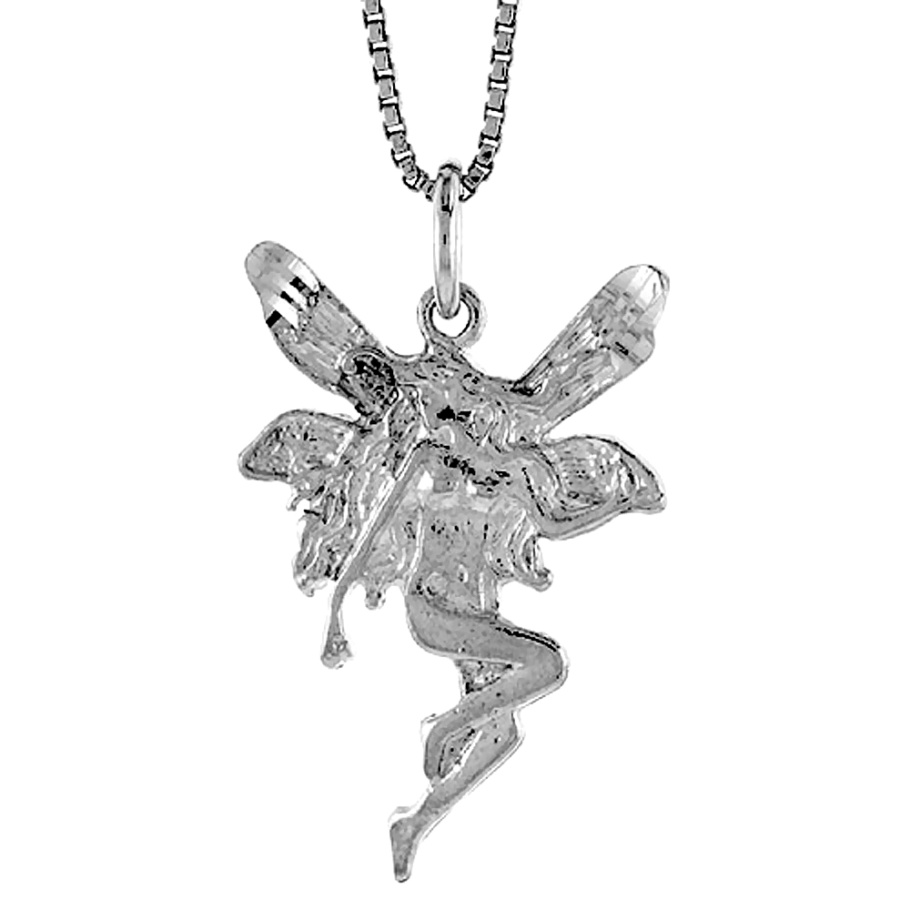 Sterling Silver Fairy Pendant, 1 1/16 inch Tall