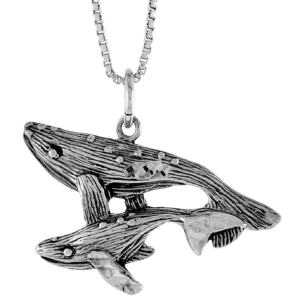 Sterling Silver Whale w/ Baby Pendant, 3/4 inch Tall