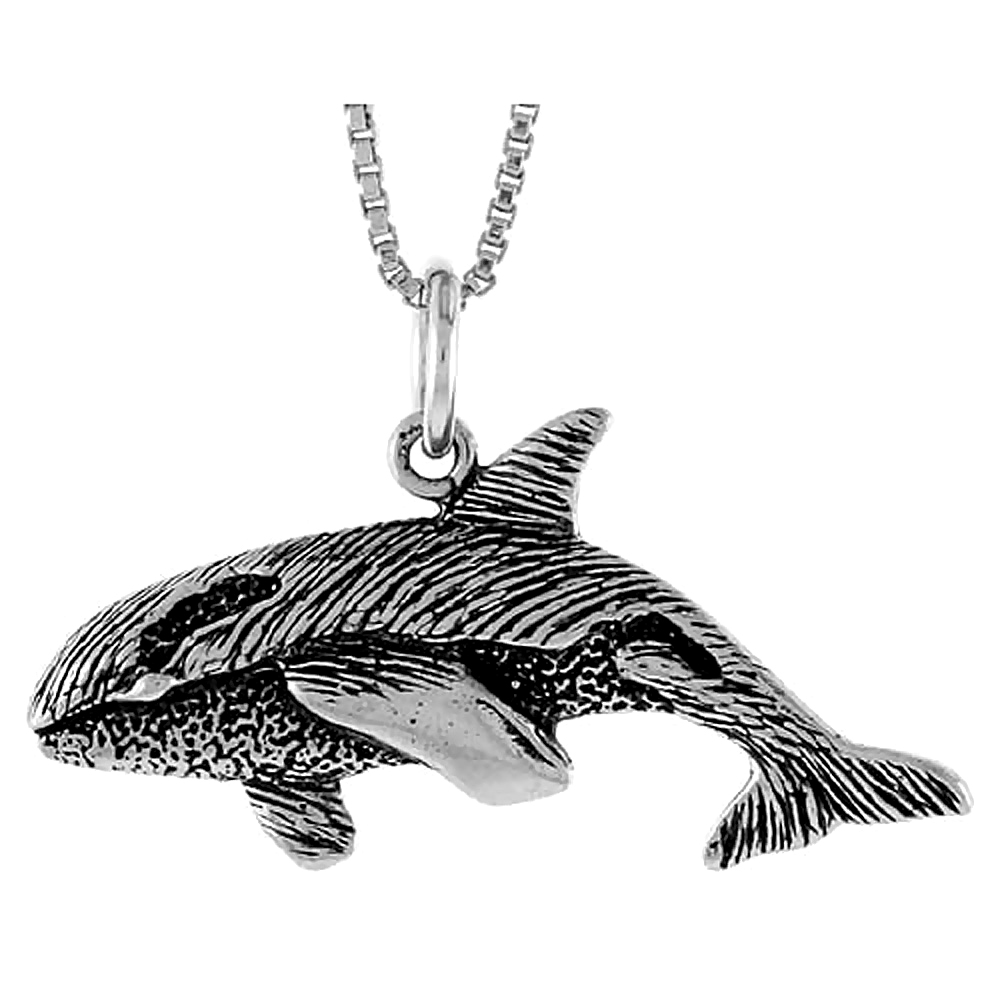 Sterling Silver Killer Whale Pendant, 1/2 inch Tall