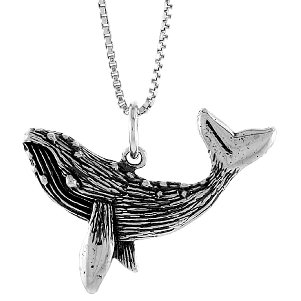 Sterling Silver Whale Pendant, 1 inch Tall