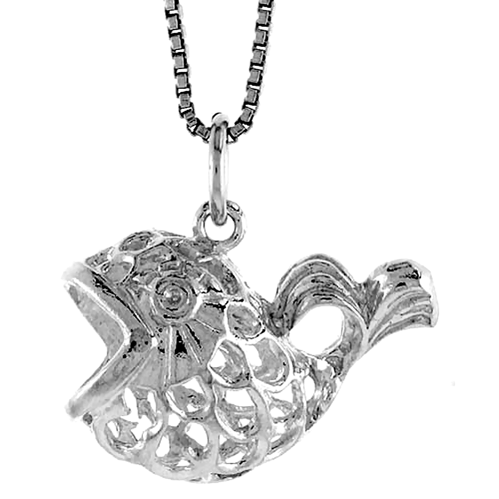 Sterling Silver Filigree Fish Pendant, 1/2 inch Tall