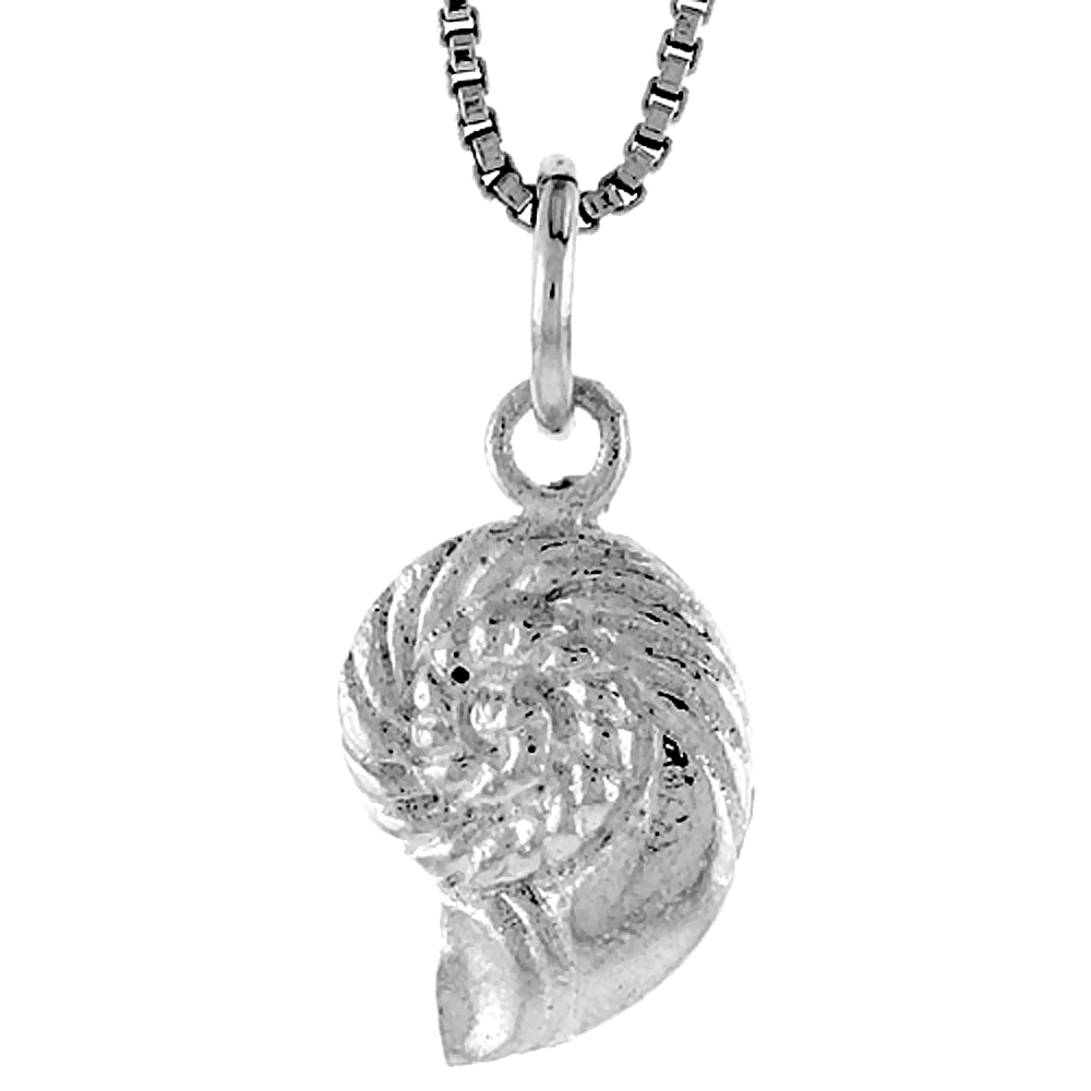 Sterling Silver Sea Shell Pendant, 1/2 inch Tall