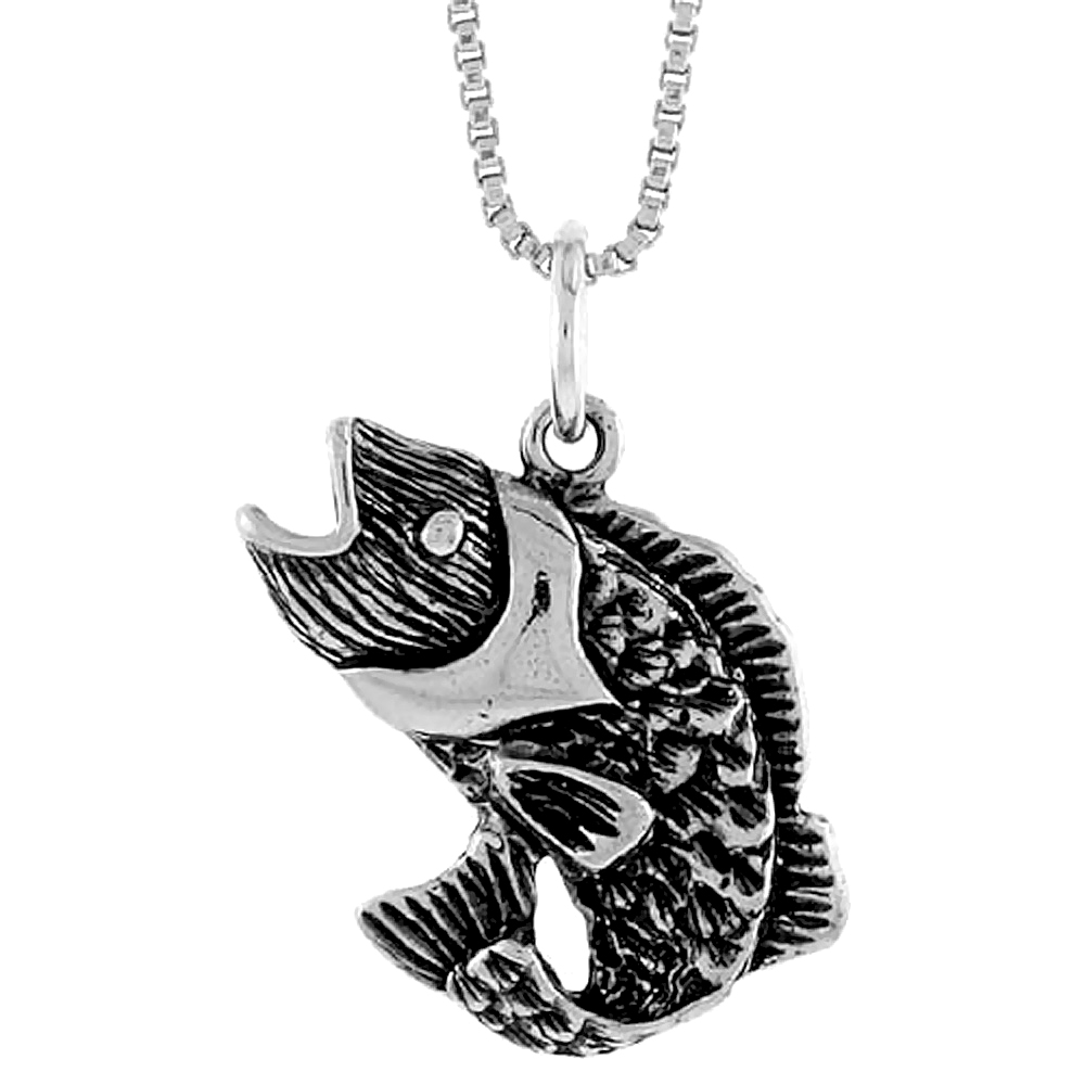 Sterling Silver Sea Bass Pendant, 5/8 inch Tall