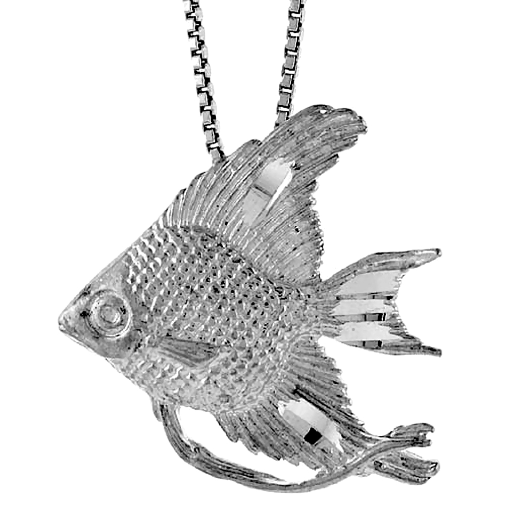 Sterling Silver Angel Fish Pendant, 7/8 inch Tall.