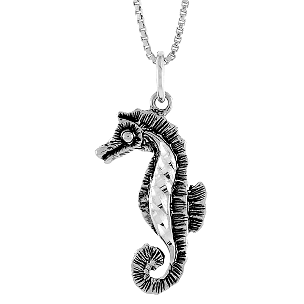 Sterling Silver Seahorse Pendant, 1 inch Tall