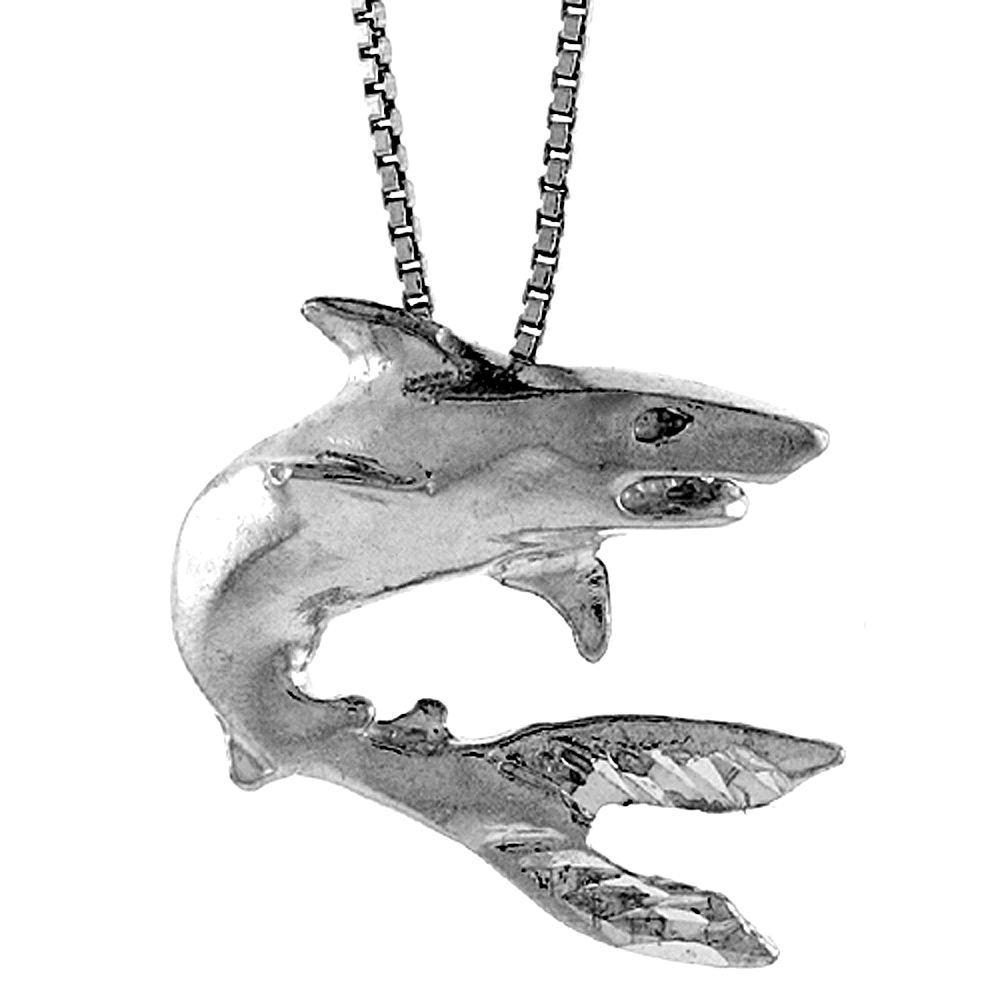Sterling Silver Shark Pendant, 1 inch Tall