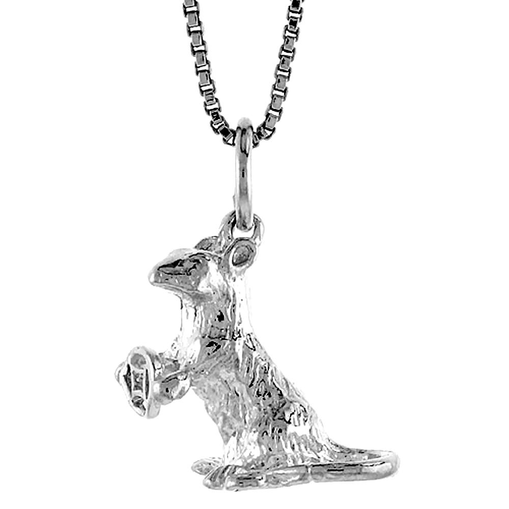 Sterling Silver Year of the RAT Pendant Chinese Zodiac, 1/2 inch tall
