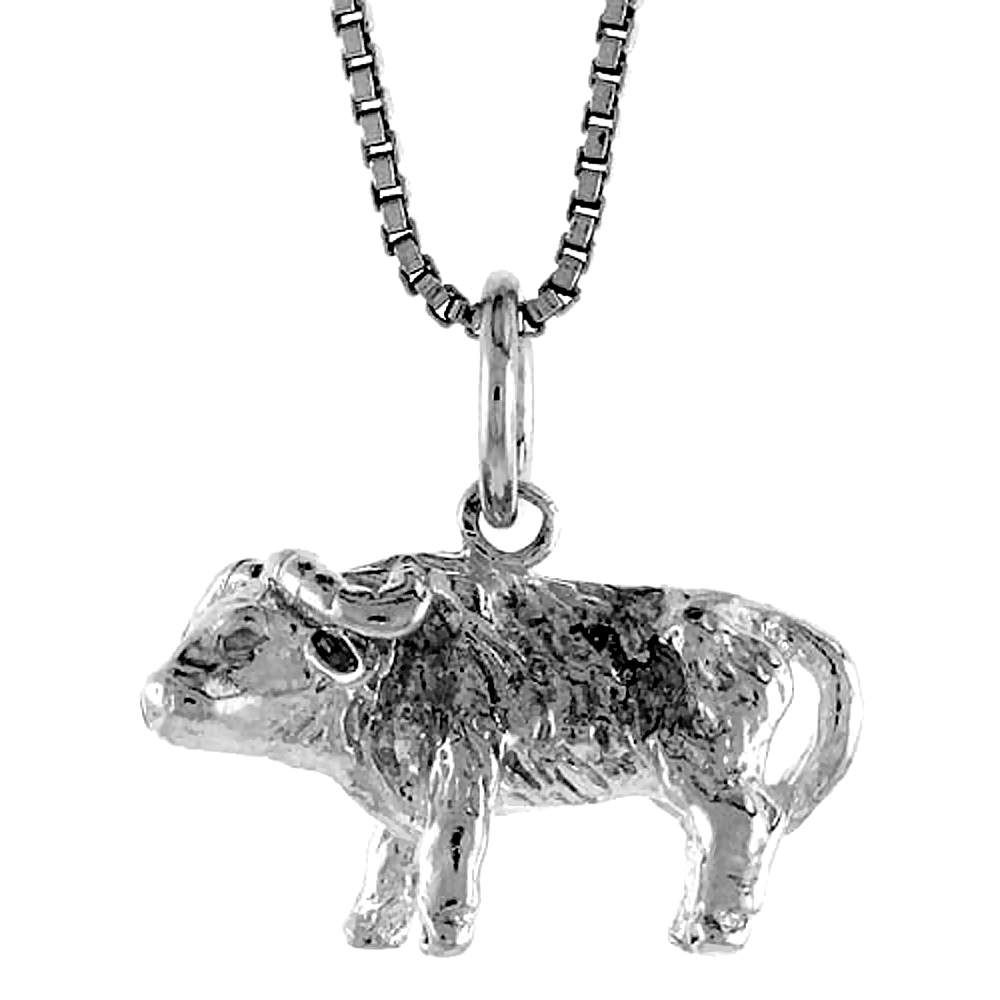 Sterling Silver Year of the OX Pendant Chinese Zodiac, 1/2 inch Tall