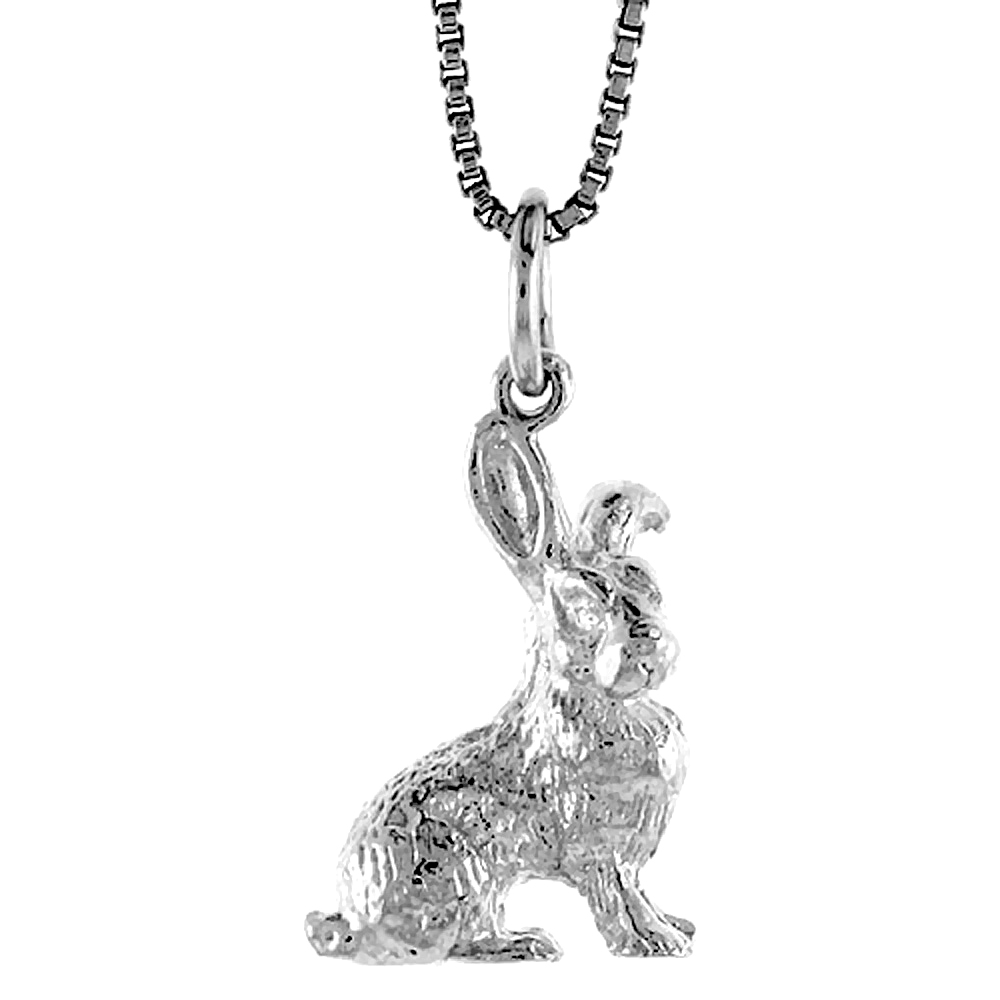 Sterling Silver Year of the RABBIT Pendant Chinese Zodiac, 3/4 inch Tall