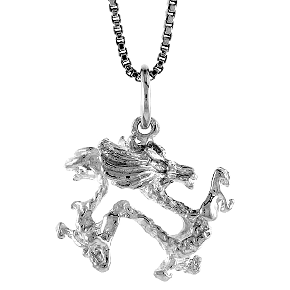 Sterling Silver Year of the DRAGON Pendant Chinese Zodiac, 1/2 inch Tall
