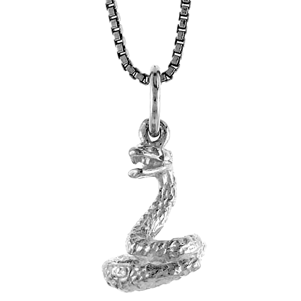 Sterling Silver Year of the SNAKE Pendant Chinese Zodiac, 1/2 inch Tall