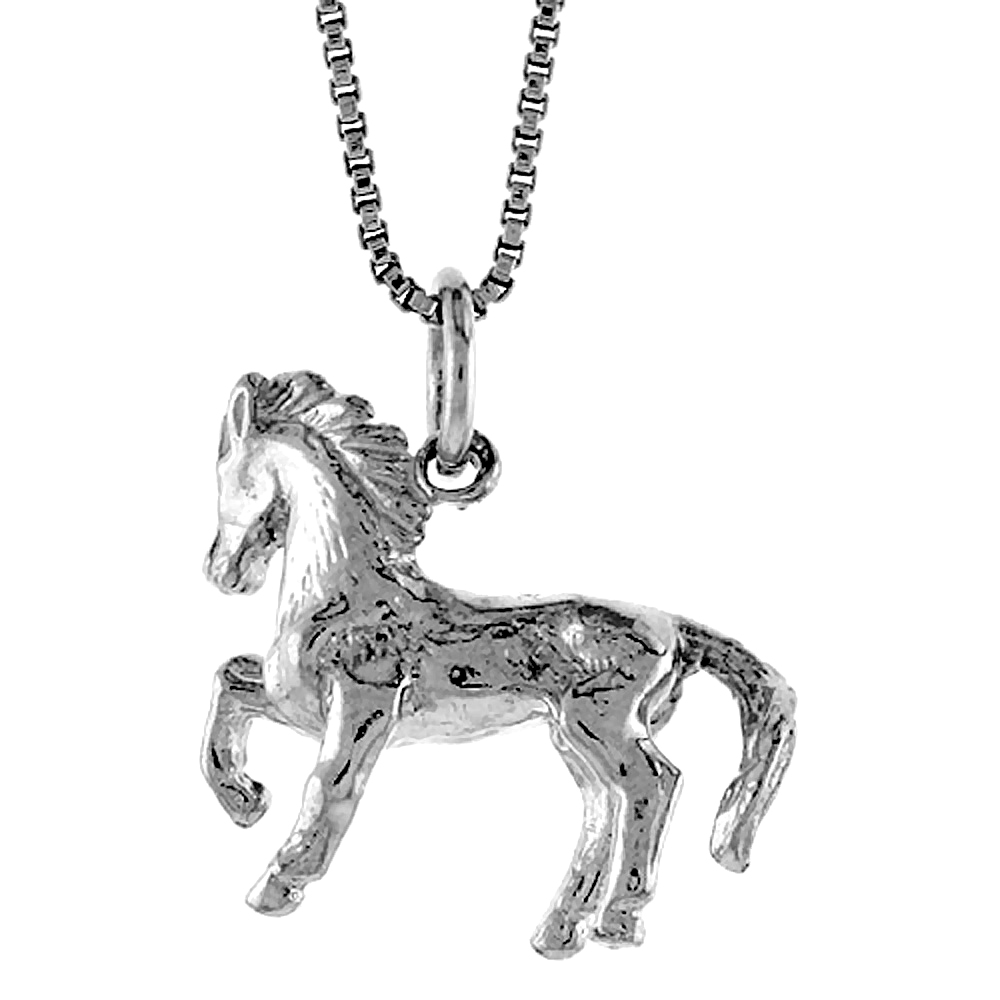 Sterling Silver Year of the HORSE Pendant Chinese Zodiac, 3/4 inch Tall